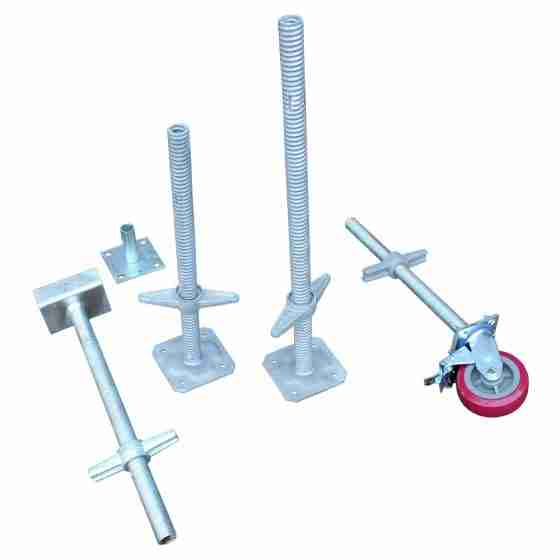 Range of Scaffold jacks, plates and scaffolding wheels